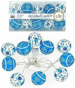"10 Hanukkah LED Battery Powered 3"" Mini Round Lantern String"