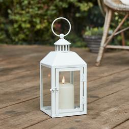"""10"""" White Battery Operated LED Flameless Candle Lantern for"""