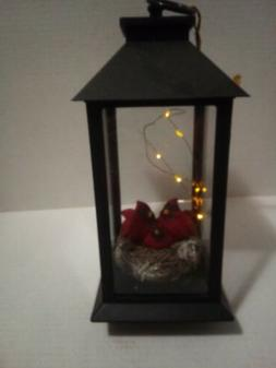 """12"""" LED Lighted Lantern with Red Cardinal Table Top Decorati"""