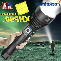 200000LM XHP90 LED Flashlight Zoomable Torch Outdoor Camping