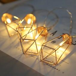3M 20 LED Diamond Shape Fairy String Light Retro Iron Metal