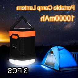 3pcs LED Camping Lantern Rechargeable Dimmable 10000mAh Powe