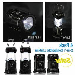 4-Pack Collapsible Solar Powered Outdoor Camping Lantern Lig