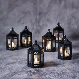 6 Black Moroccan Indoor Battery Operated LED Flameless Tea L