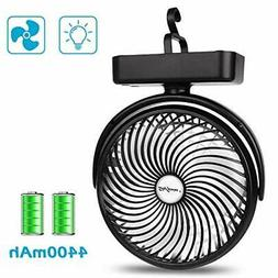 7-Inch Camping Fan with LED Lantern, 4400mAh Rechargeable Ba