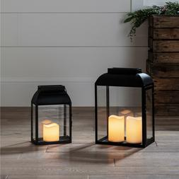 Black Metal Battery Operated LED Flameless Candle Lantern fo