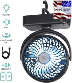 Camping Fan With Led Lights 5000Mah Rechargeable Battery Ope