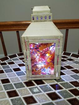HANDCRAFTED LED LIGHTED WHITE ANTIQUE PAINTED LANTERN.