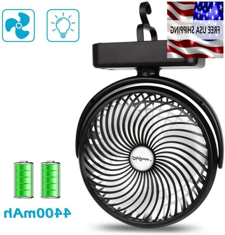 camping fan 7 inch with led lantern