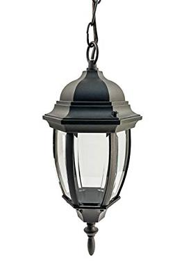 CORAMDEO Curved Hex Pendant Mount LED Lantern for Porch, Pat