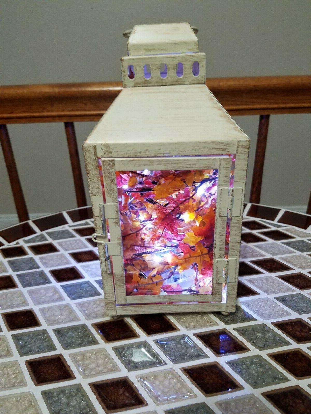 handcrafted led lighted white antique painted lantern