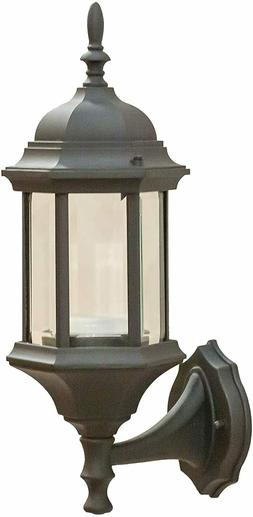 CORAMDEO Outdoor Hex Straight Glass LED Wall Sconce Lantern