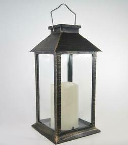 Outdoor Solar Lantern with LED Candle Hanging or Tabletop De