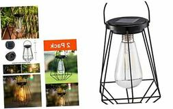 Outdoor Solar Lanterns Lamps - 2 Pack Tabletop Filament LED