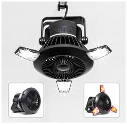 Solar Camping Fan with LED Lantern & Hanging Hook for tents