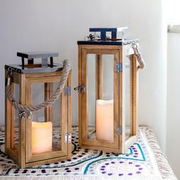 Wooden Battery Operated LED Flameless Candle Lantern for Ind